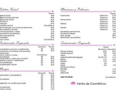 Catalogo de Tratamientos y precios.
