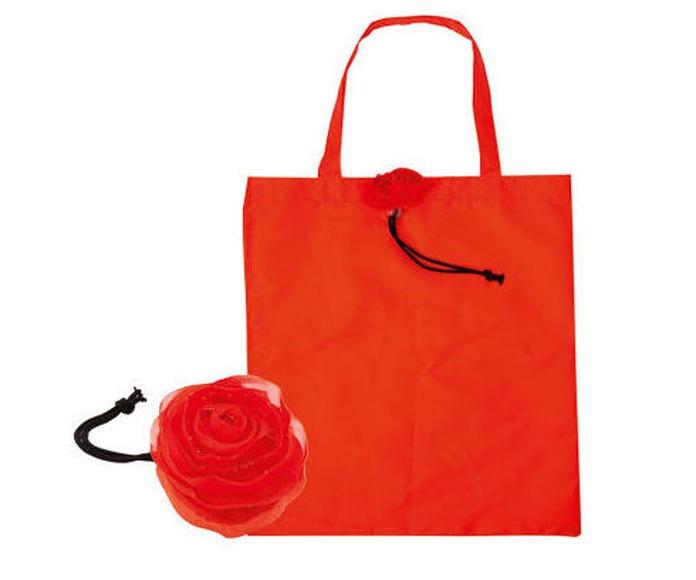 Original bolsa plegable en forma de rosa en resistente y suave poliéster