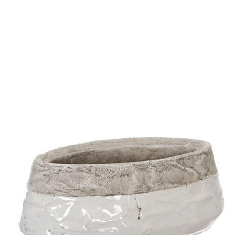 JARDINERA CERAMICA OVALADA CHATA / WHITE REF.:79190052/WH PRECIO:2,00 €