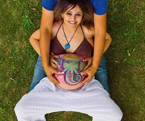 Sesion Fotografica de Premama mas dibujo en el vientre.
