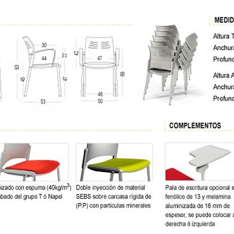 Medidas y tipos de asiento Silla Colectiva SPACIO 4Patas