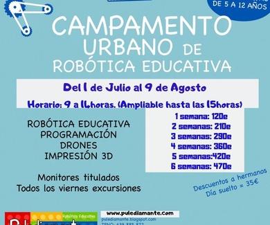 CAMPAMENTO URBANO DE ROBÓTICA EDUCATIVA. JULIO Y AGOSTO 2019. VALLADOLID