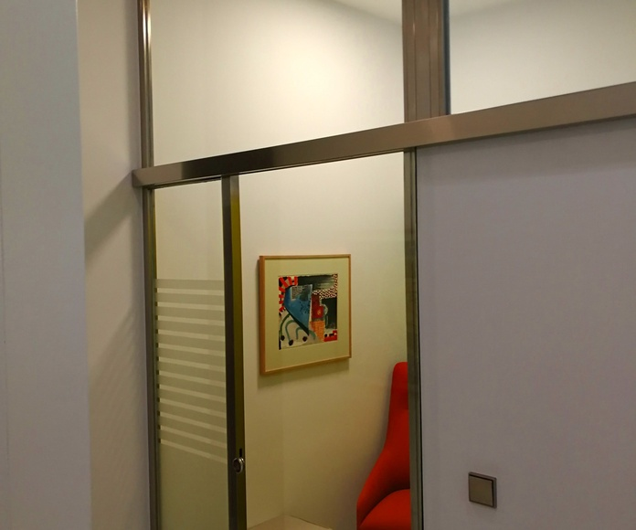 Puertas de acero inoxidable con marcos fijos fabricadas a medida y montadas en clínica dental