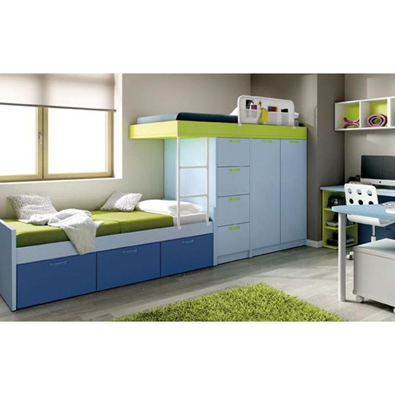 Tren de dos camas con espacio para guardar juguetes. Ideal para un espacio