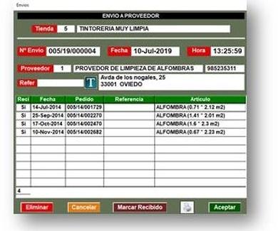 Control de proveedores externos - Tintorerías y Lavanderías