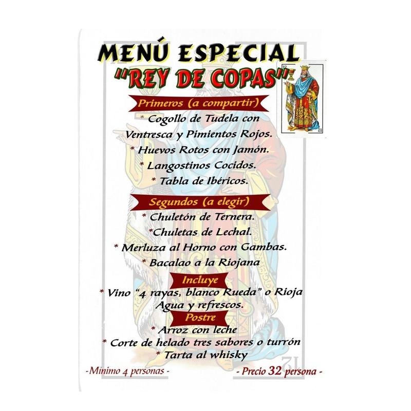 Menú Rey de Copas: Especialidades de Restaurante Bodegón Ciri
