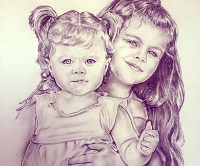 Retrato carbón 50x70 de unas niñas