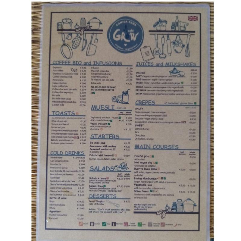 Carta en español e inglés: Carta de Grow Café