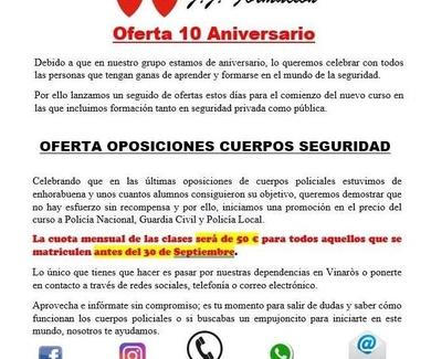 Oferta 10 Aniversario - Oposiciones Cuerpo de Seguridad