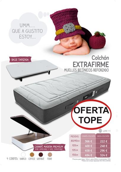 EV Colchonerías: conjunto de colchón Extraconfort y base tapizada 3D 135 por 296 €