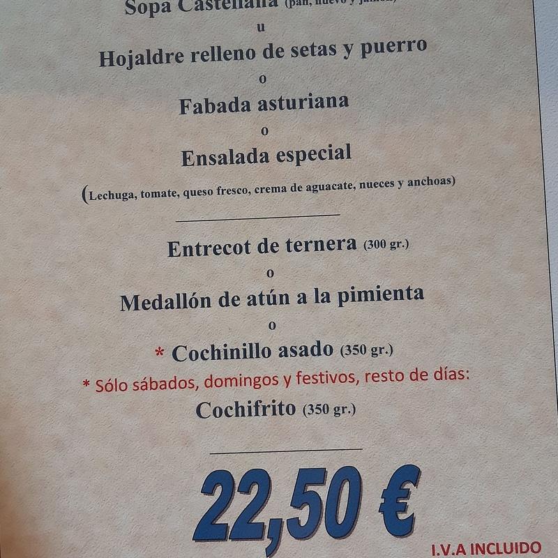 Menú Especial  (no incluye bebida): Carta de La Fanega de Roque - Comedor Solariego