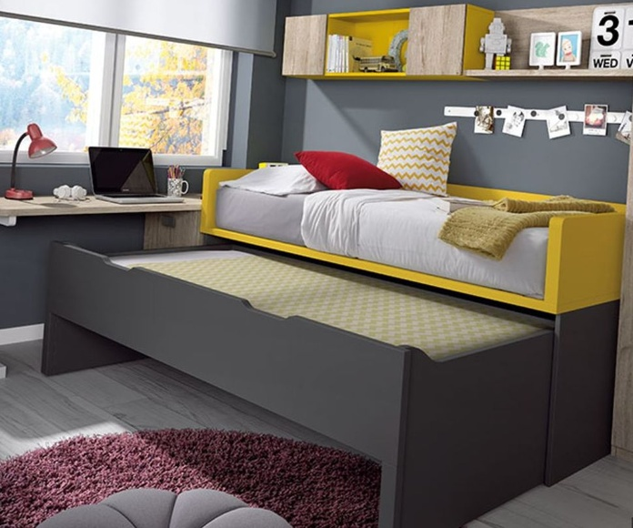 Detalle de cama compacta oculta