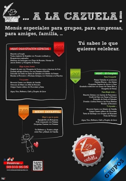 Menús para grupos restaurante A la Cazuela de Viladecans