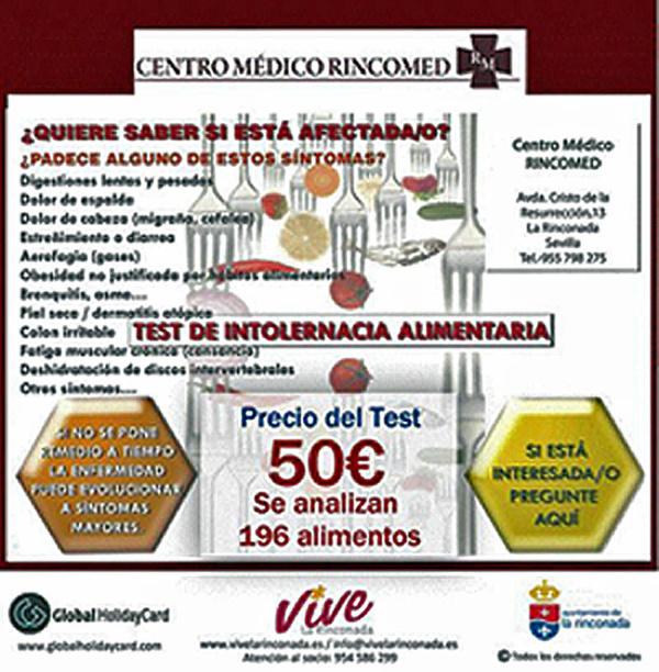 NUTRICIÓN. TEST DE INTOLERANCIA ALIMENTARIA: Servicios de Rincomed