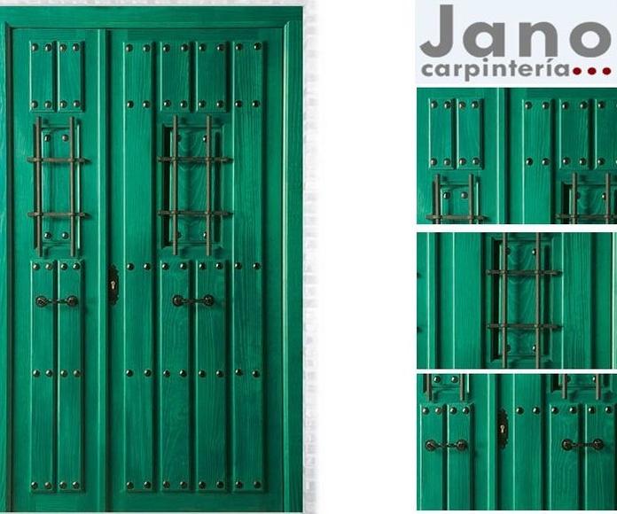 Mod. 2014 Puerta de exterior maciza teñida verde