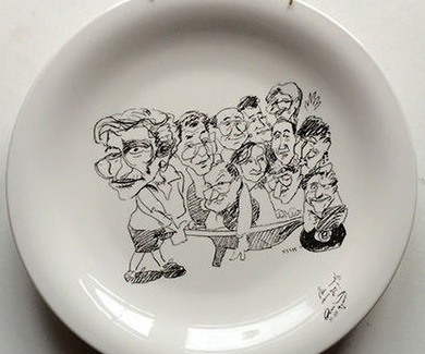 Plato con caricatura família