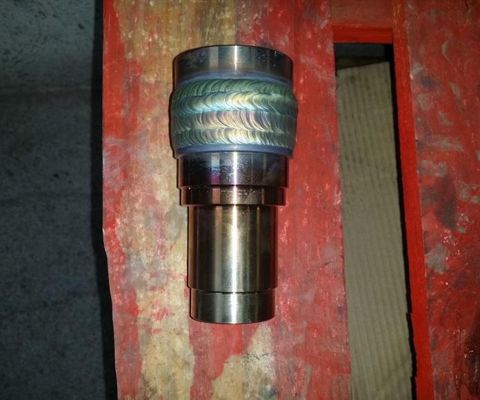 pieza recargada con estellite para su posterior mecanizado