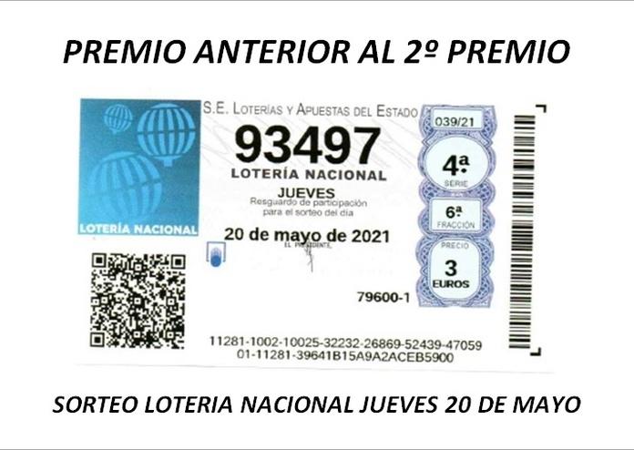 Premio loteria nacional Jueves 20 de Mayo