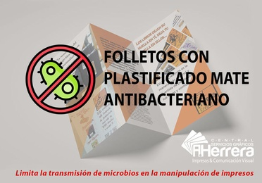 Folleto plastificado antibacteriano mate