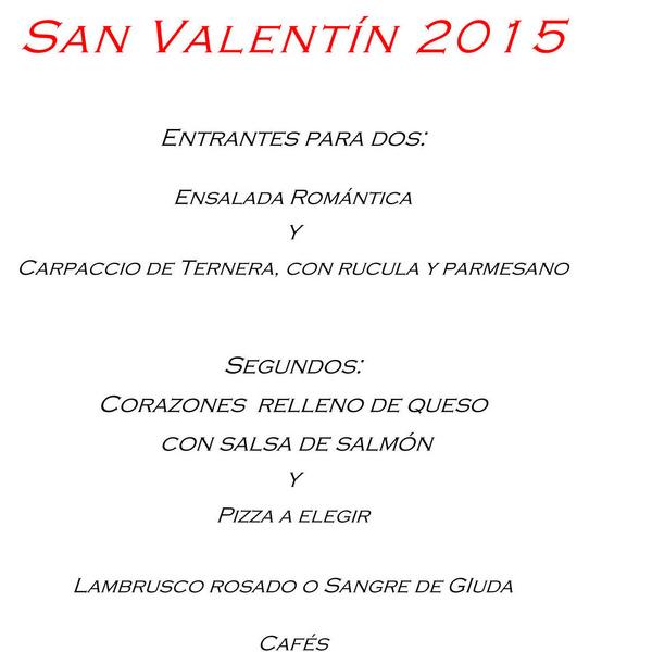 Menus San Valentin 2015