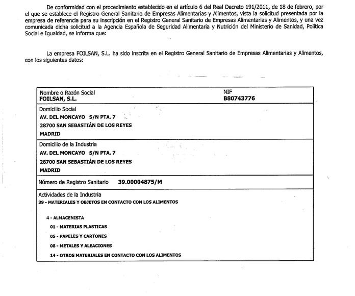 Certificado registro sanitario