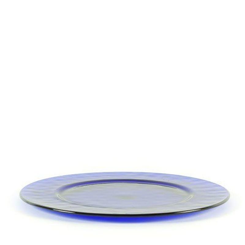 Plato de presentación azul: Alquiler de Mantelería & Menaje