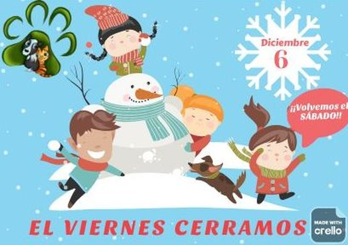 6 de diciembre FESTIVO en Mascotes Castellbell centre veterinari S.L