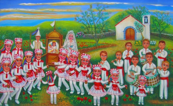 Recuerdo de la bajada de la Virgen de los Reyes en la Isla del Hierro. 38x61cm. oleo/tela. 950€+IVA