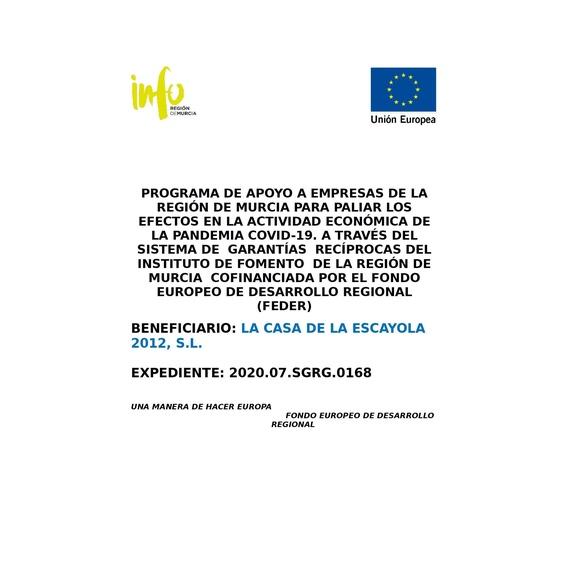 Programa de apoyo a empresas por fondo FEDER: Productos de La Casa de la Escayola