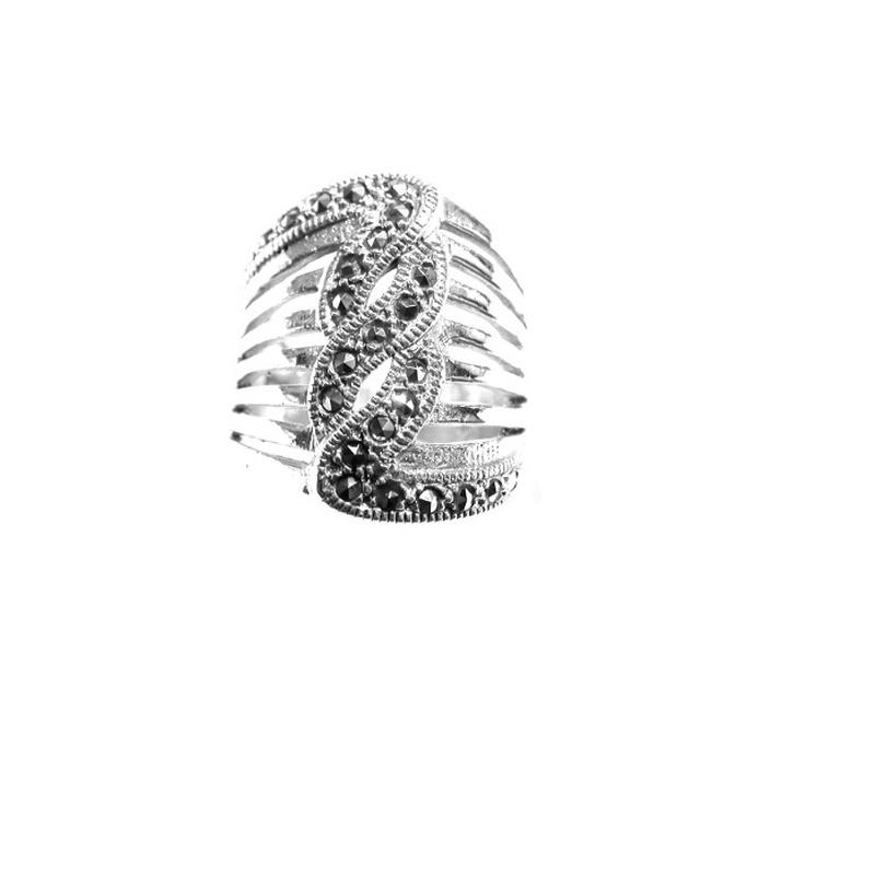 Sortija Ancha y calada  de Plata de 1ª Ley con Marcasitas Ref. ES-882/00: Catálogo de Antigua Joyeros