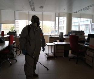Desinfección de edificios por nebulización