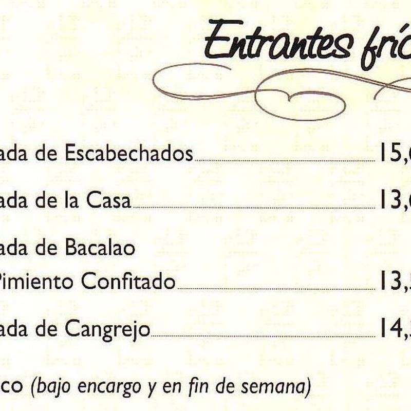 ENTRANTES FRIOS: carta de especialidades de Casa Manolo Restaurante