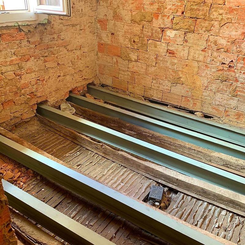 Reforzamiento de vigas de madera en Matiko Bilbao.