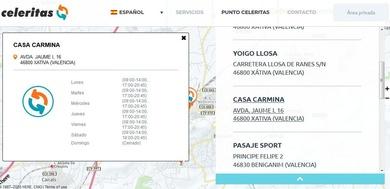 Ya estamos en la web de CELERITAS como punto de entrega y recogida de paquetes.