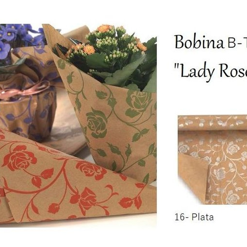 "BOBINA DE PAPEL KRAFT ESTAMPADO NATURAL ""LADY ROSE KRAFT"" (45GR 0,70X50MT)/ 16 (PLATA) REF: B-T206C PRECIO: 12,00€"
