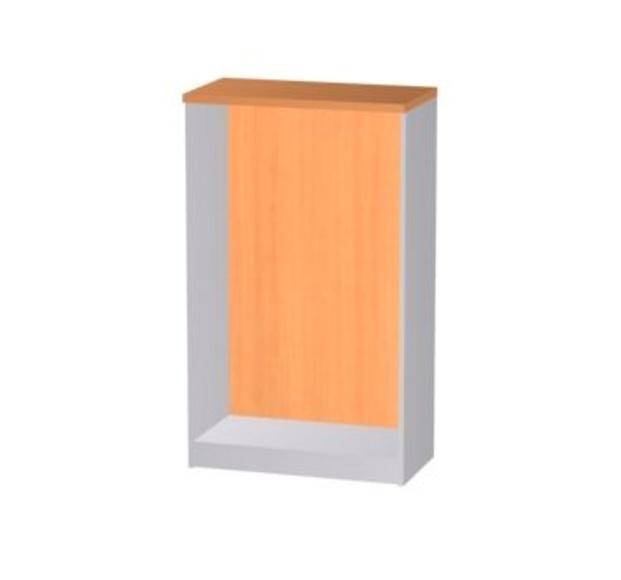 Armario media altura abierto Solber en color peral combinado con grafito en los laterales
