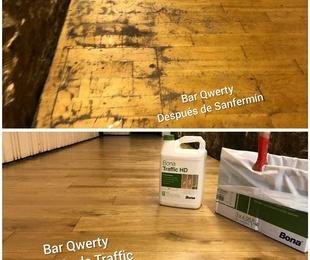 Restauración de suelo de madera con mucho tránsito.
