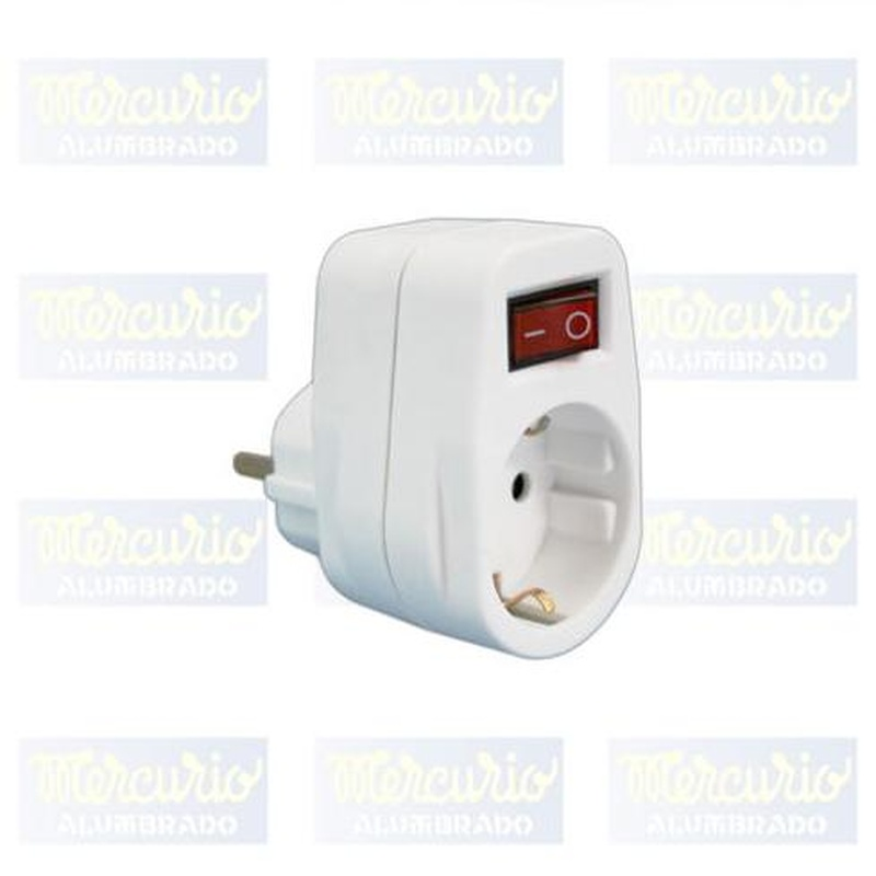 Adaptador  de una toma con interruptor y toma de tierra: Productos de Mercurio Alumbrado