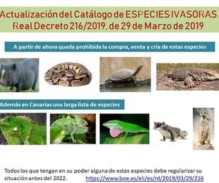 Actualización del catálogo de ESPECIES INVASORAS