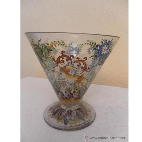 Jarrón antiguo. Cristal mallorquín. Fabricado y firmado por Guardiola: Catálogo de Antiga Compra-Venta