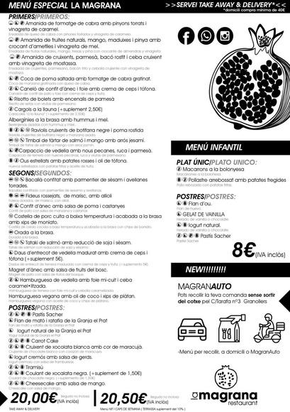 Menú laMagrana : Catálogo de La Magrana Restaurant