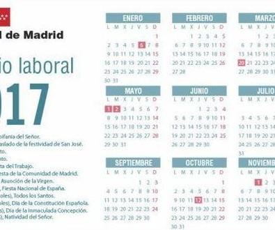 Madrid aprueba el calendario laboral para 2017 con doce festivos