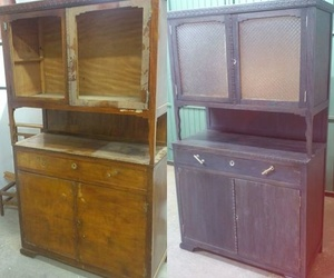 Mueble antiguo (antes y después de la restauración)