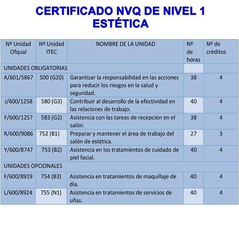 Nivel 1-2-3 NVQ en estética: Cursos peluquería y estética de Centro de Formación de Peluquería y Estética Virgen de los Llanos Moliné