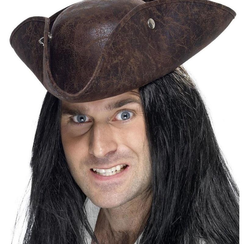 Sombrero pirata 3 picos look cuero gastado