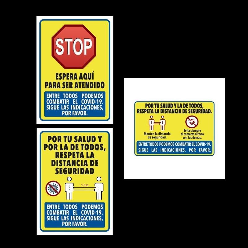 Pancartas informativas Covid19 Pack 3: Productos y servicios de Prieto Larrey
