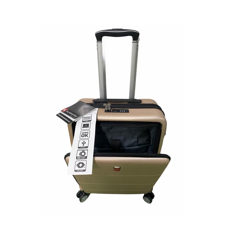 Maleta cabina, con bolsillo para ordenador, material polipropileno, con TSA, precio 75€