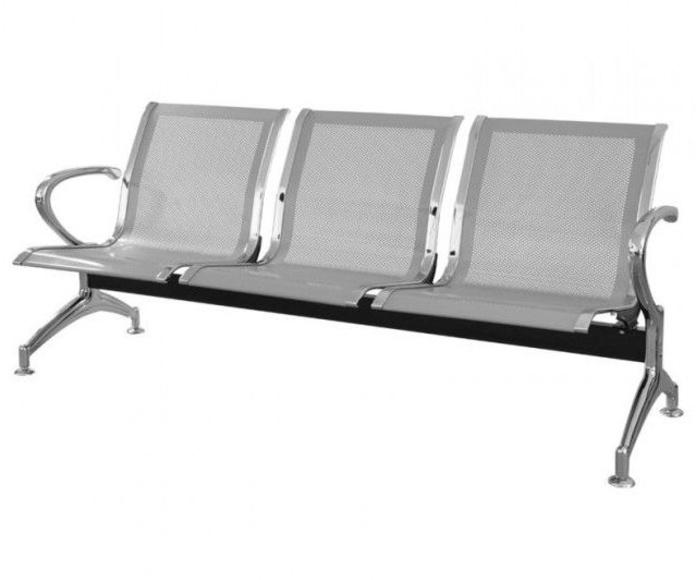 bancada metálica Ala de 3 plazas en color aluminio