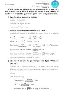 Solución del problema sobre disoluciones de HCl