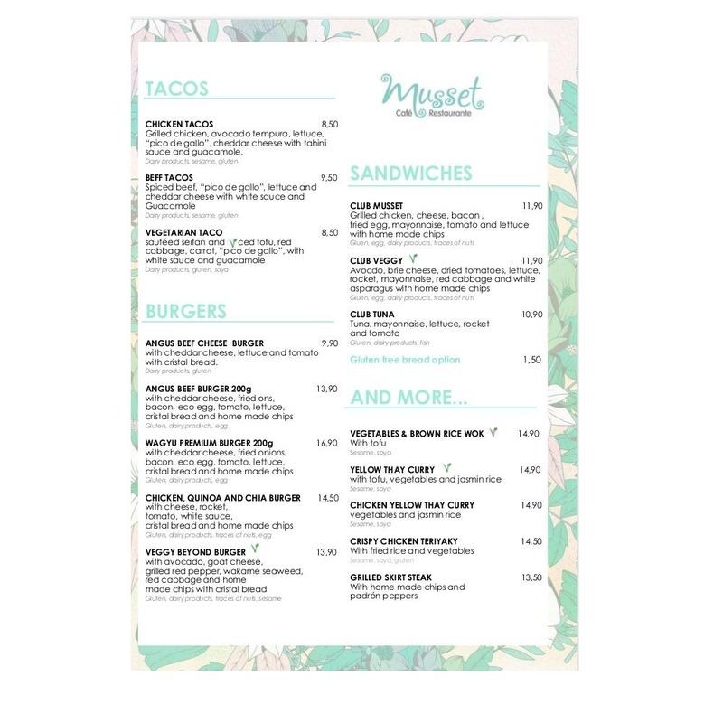 English Menú: Carta de Musset Café
